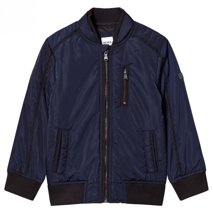 Boss Navy Coated Bomber Jacket Bomber Takki