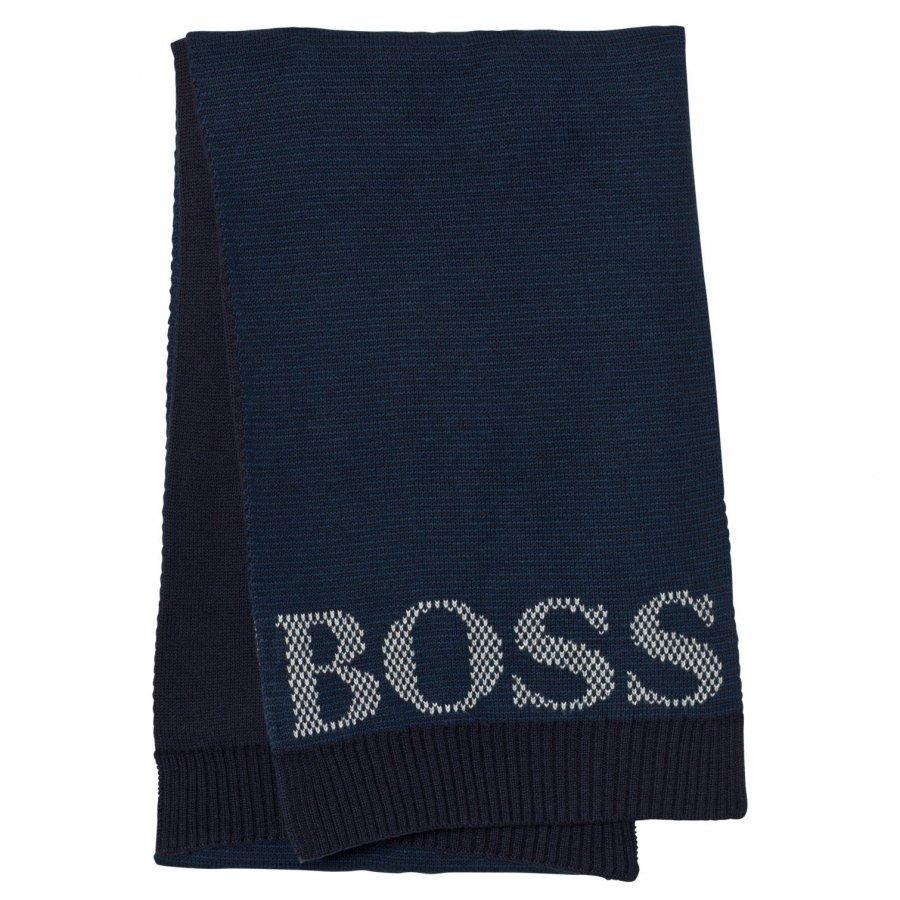 Boss Navy Knit Branded Scarf Villahuivi