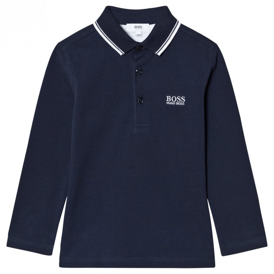 Boss Navy Long Sleeve Branded Polo Pitkähihainen T-Paita