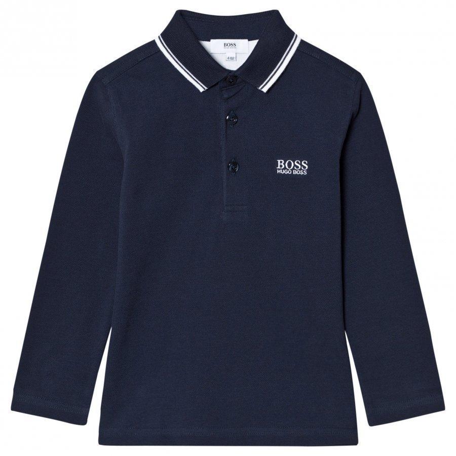 Boss Navy Long Sleeve Branded Polo Pitkähihainen T-Paita