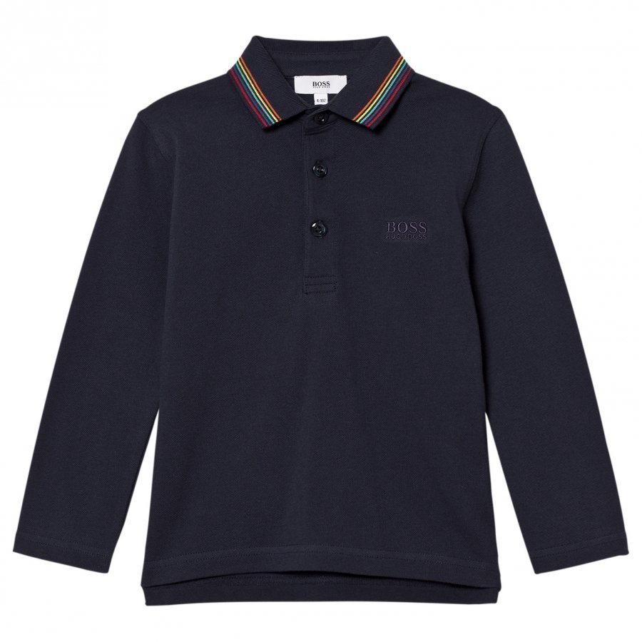 Boss Navy Long Sleeve Polo Multi Colour Collar T-Paita