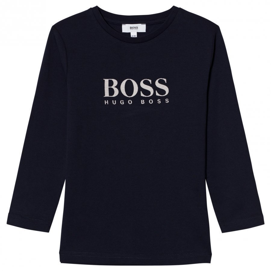 Boss Navy Rubberized Branded Long Sleeve Tee Pitkähihainen T-Paita