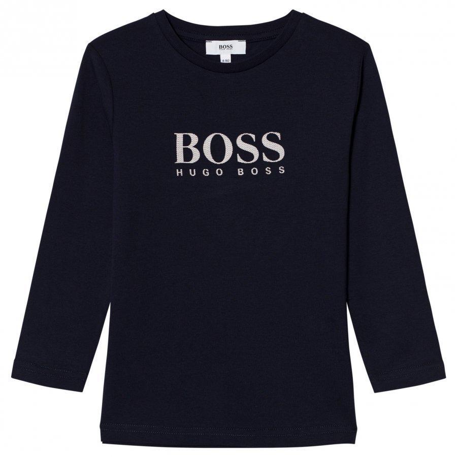 Boss Navy Rubberized Branded Long Sleeve Tee Pitkähihainen T-Paita