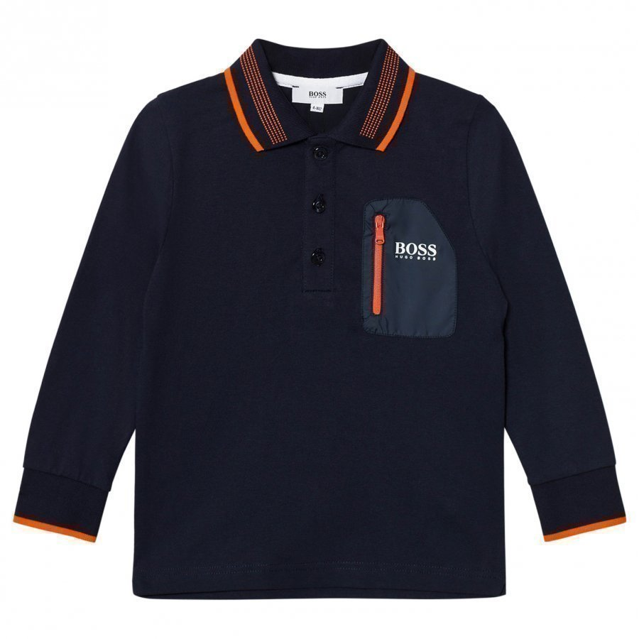 Boss Navy Tipped Long Sleeve Jersey Polo Pitkähihainen T-Paita