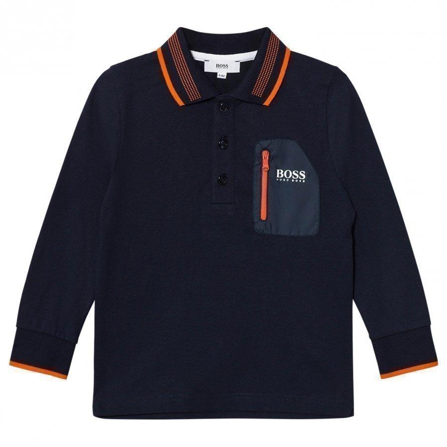 Boss Navy Tipped Long Sleeve Jersey Polo Pitkähihainen T-Paita
