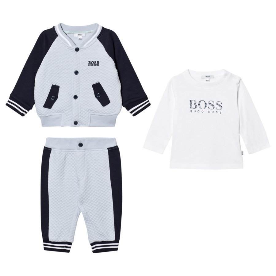 Boss Navy/Pale Blue Waffle Jacket Trackpants And Tee Set Asusetti