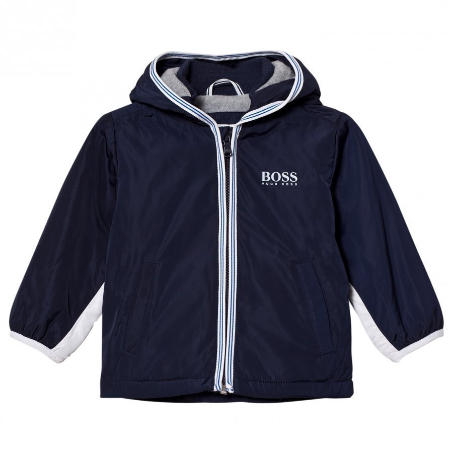 Boss Navy/White Branded Hooded Windbreaker Tuulitakki