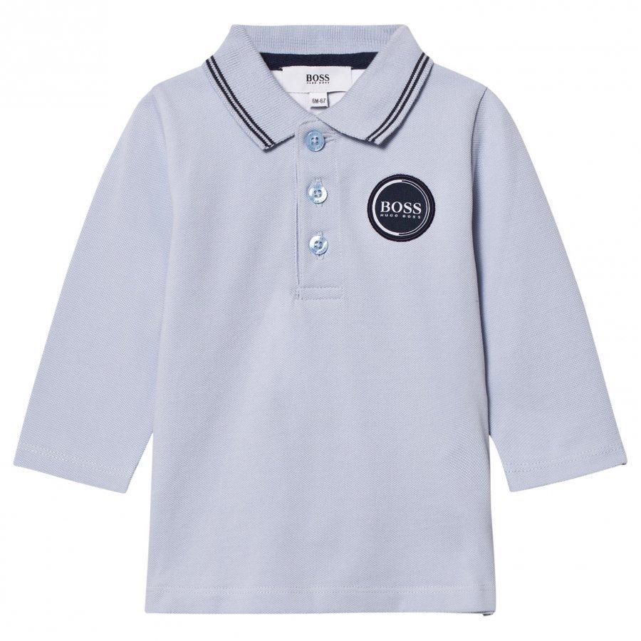 Boss Pale Blue Logo Long Sleeve Polo Pitkähihainen T-Paita