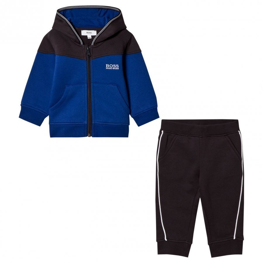 Boss Royal Blue And Black Branded Tracksuit Verryttelyasu