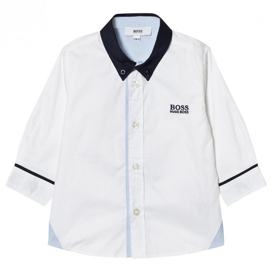 Boss White And Navy Contrast Shirt Kauluspaita