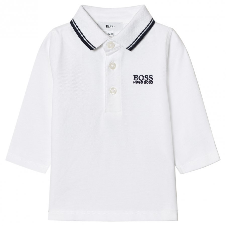 Boss White Branded Long Sleeve Polo Pitkähihainen T-Paita