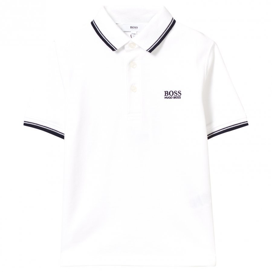 Boss White Classic Branded Polo Pikeepaita