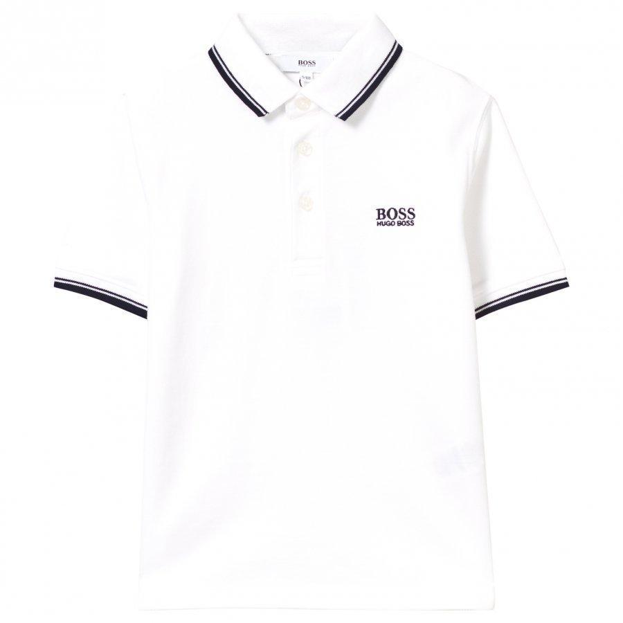 Boss White Classic Branded Polo Pikeepaita