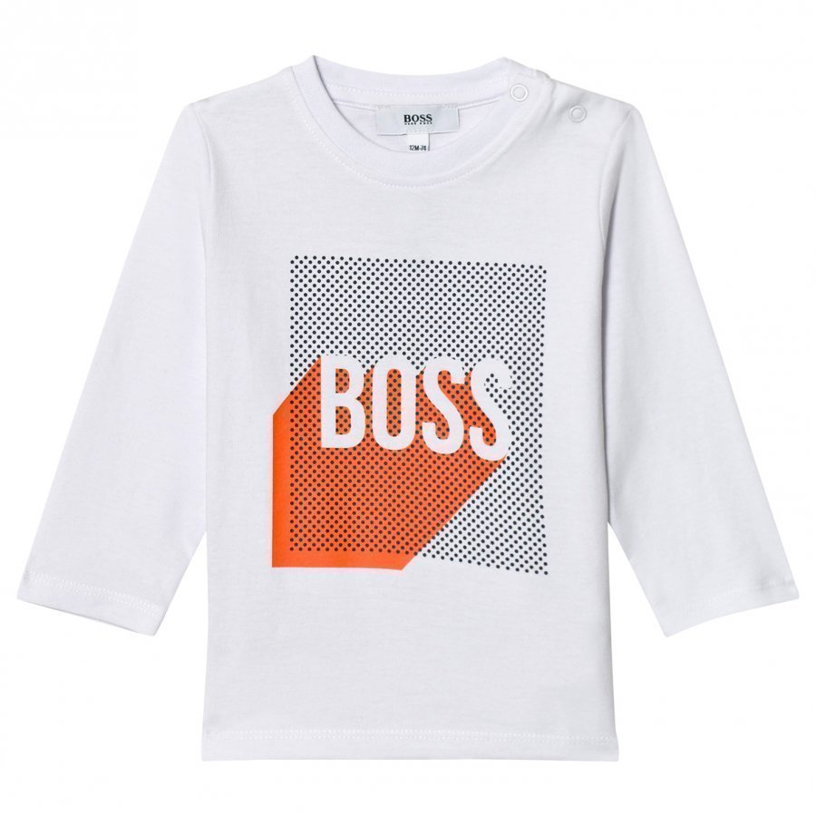 Boss White Graphic Logo Print Tee T-Paita
