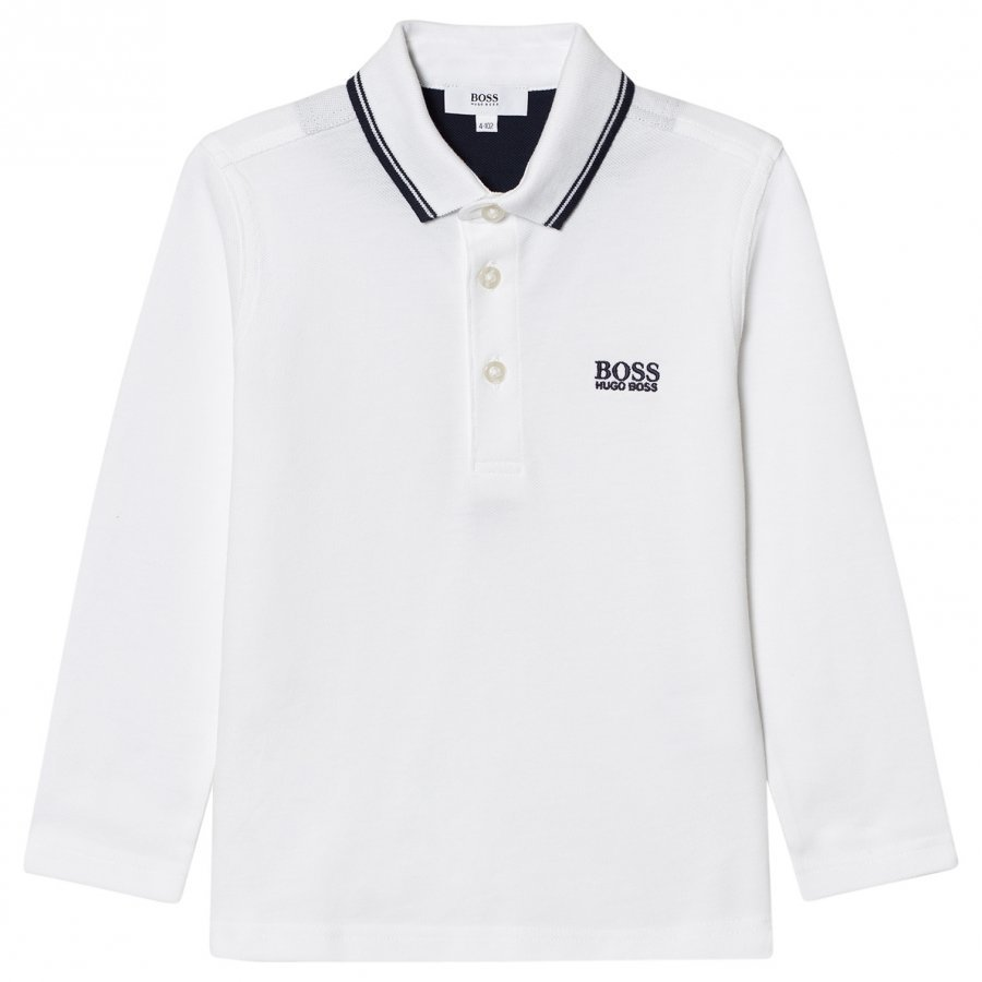 Boss White Long Sleeve Branded Polo Pitkähihainen T-Paita