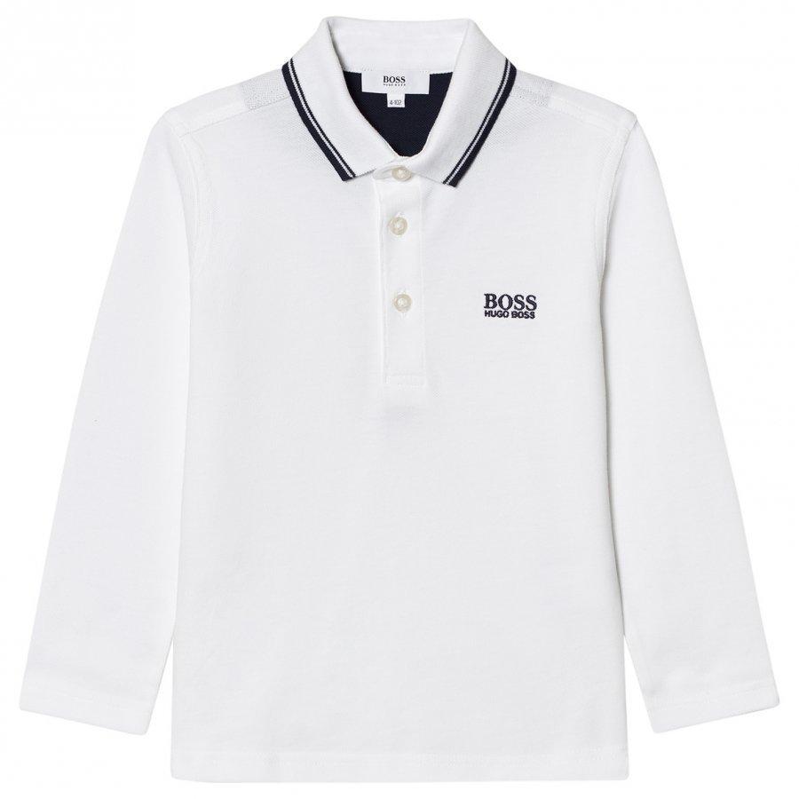 Boss White Long Sleeve Branded Polo Pitkähihainen T-Paita