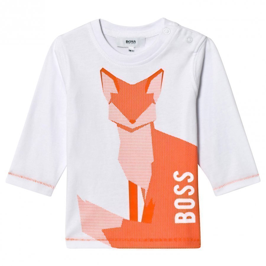 Boss White/Orange Fox Print Tee T-Paita