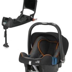 Britax Römer Turvkaukalo Baby Safe Plus SHR II 2016 Black Marble + Turvaistuimen Telakka ISOFix