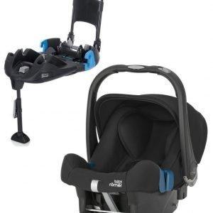 Britax Römer Turvkaukalo Baby Safe Plus SHR II 2016 Cosmos Black + Turvaistuimen Telakka Turvavöillä