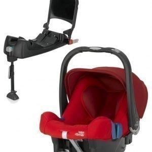 Britax Römer Turvkaukalo Baby Safe Plus SHR II 2016 Flame Red + Turvaistuimen Telakka ISOFix