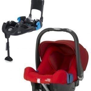 Britax Römer Turvkaukalo Baby Safe Plus SHR II 2016 Flame Red + Turvaistuimen Telakka Turvavöillä