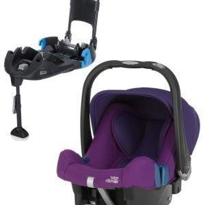 Britax Römer Turvkaukalo Baby Safe Plus SHR II 2016 Mineral Purple + Turvaistuimen Telakka Turvavöillä