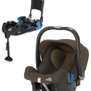 Britax Römer Turvkaukalo Baby Safe Plus SHR II 2016 Wood Brown + Turvaistuimen Telakka Turvavöillä