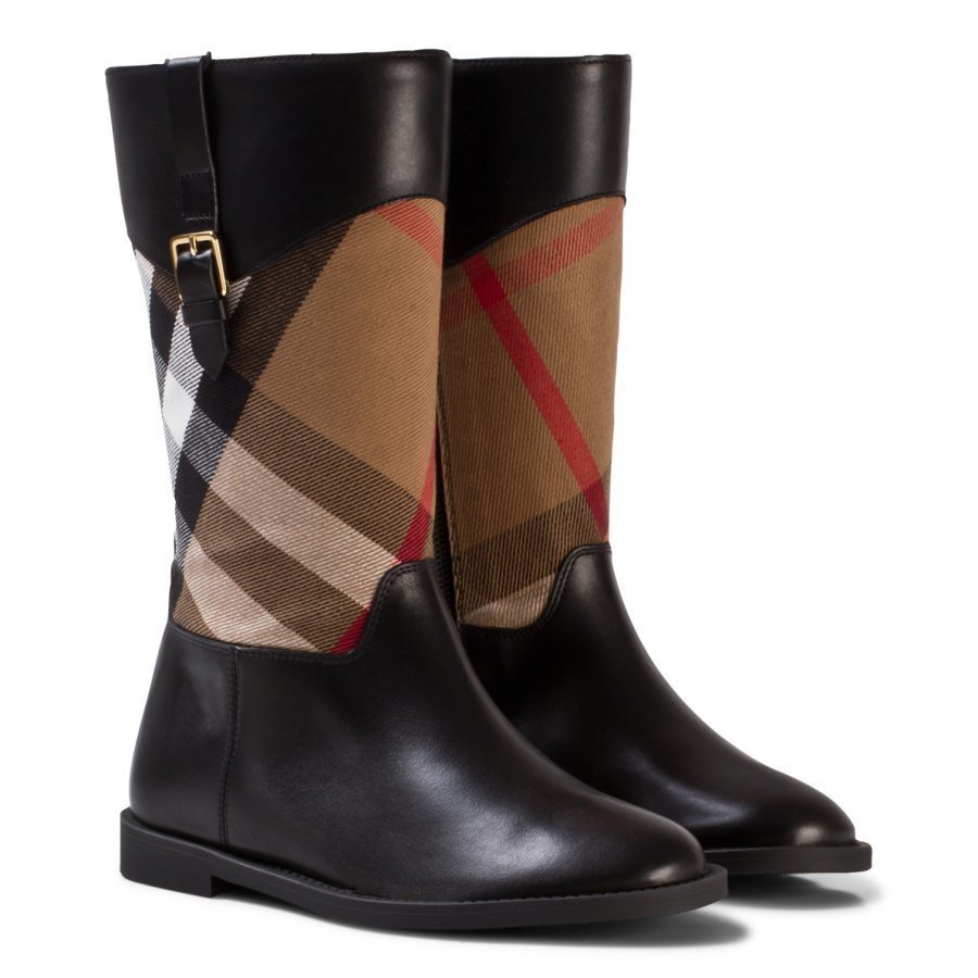 Burberry Black And Classic Check Mini Copse Leather Boots Korkeavartiset Saappaat