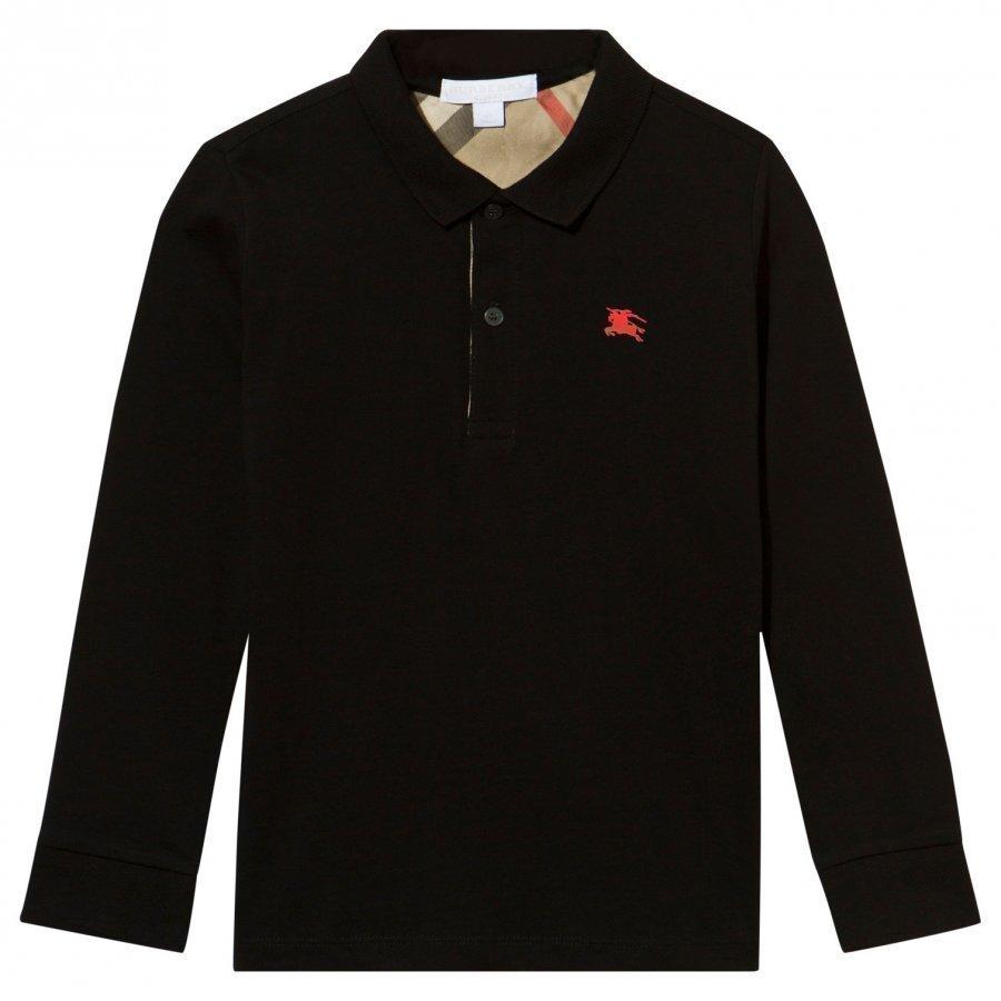 Burberry Black Long Sleeve Jersey Polo Pikeepaita