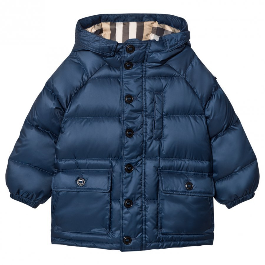 Burberry Blue Shower-Resistant Hooded Puffer Jacket Toppatakki