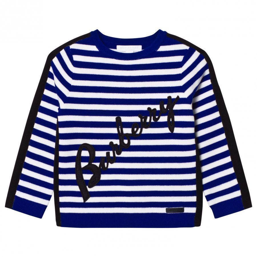 Burberry Blue Stripe Applique And Branded Jumper Paita