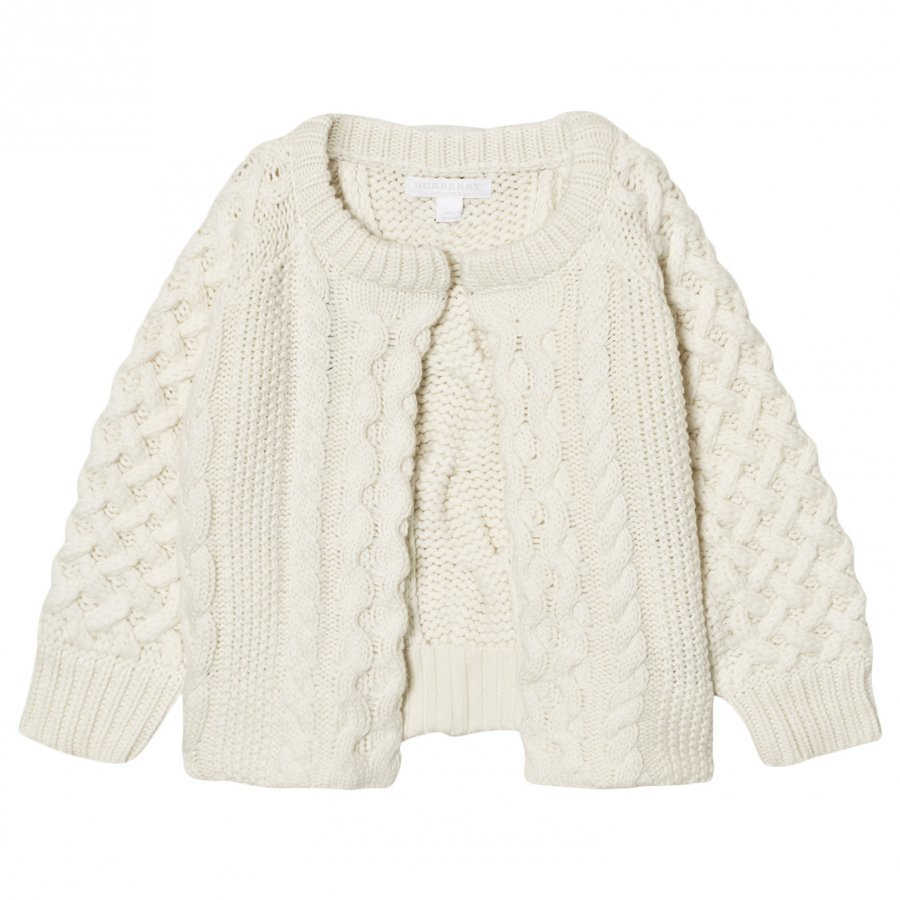 Burberry Cable Knit Wool Cashmere Henriet Cardigan Cream Neuletakki
