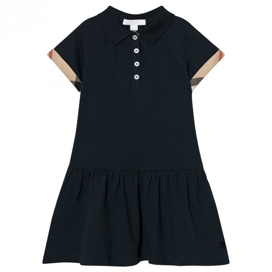Burberry Cali Polo Dress Check Detail Navy Mekko