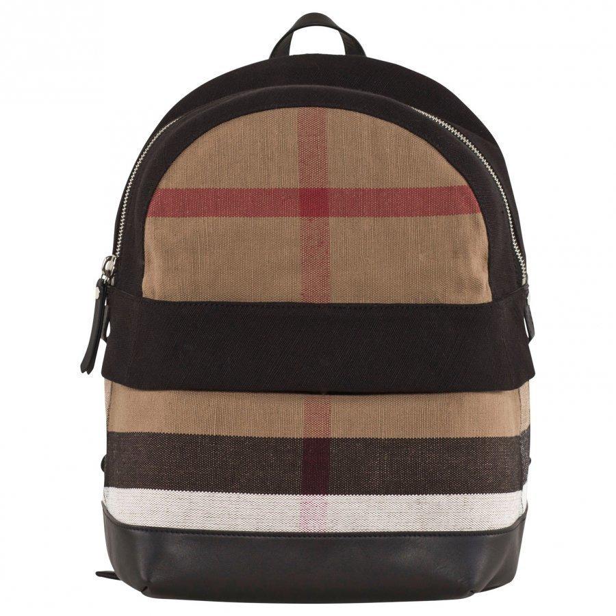 Burberry Canvas Check & Leather Reppu Musta Reppu