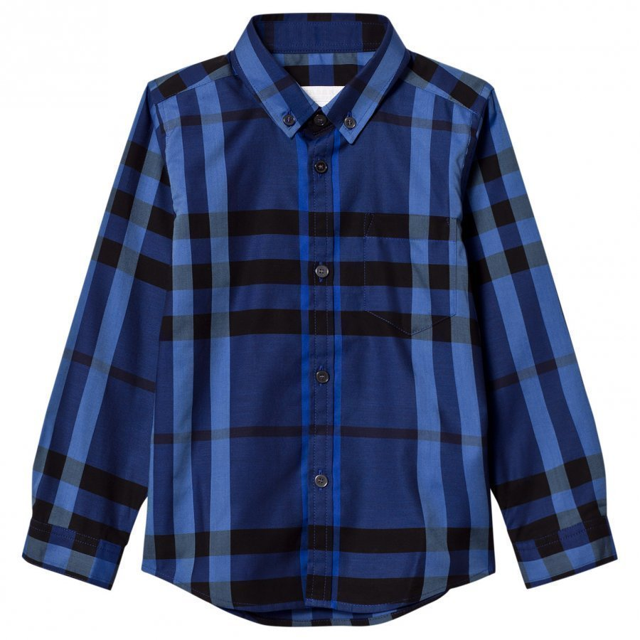 Burberry Check Button-Down Shirt Brilliant Blue Kauluspaita