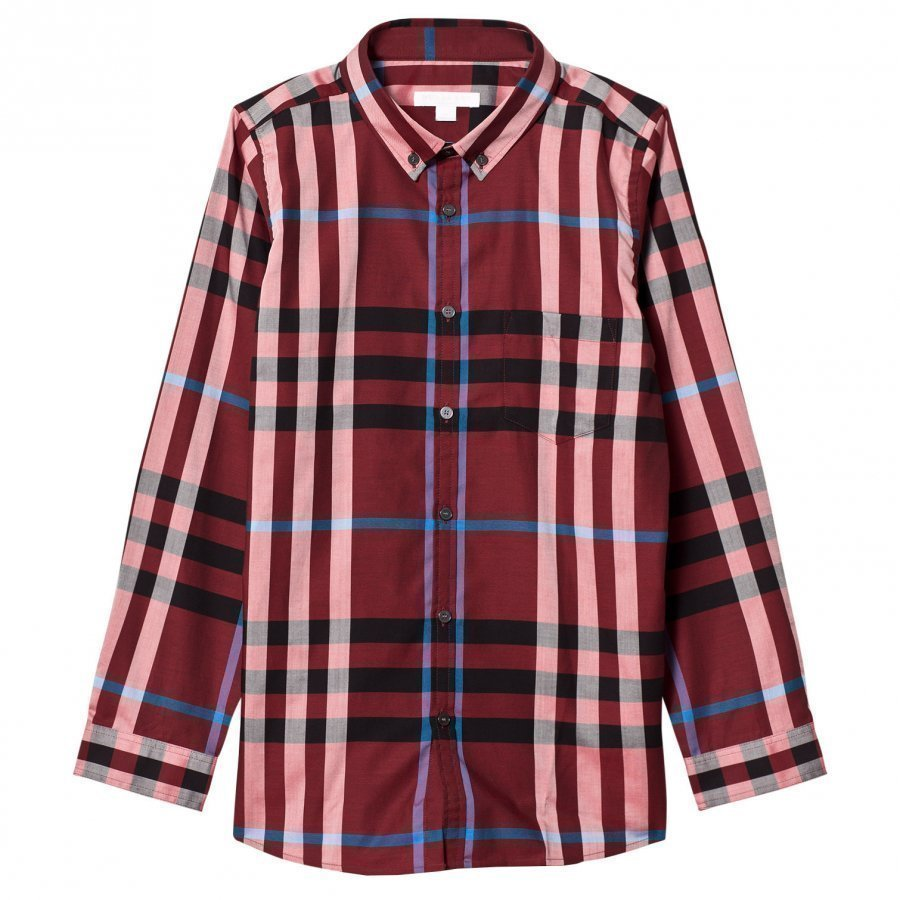 Burberry Check Button-Down Shirt Carmine Red Kauluspaita