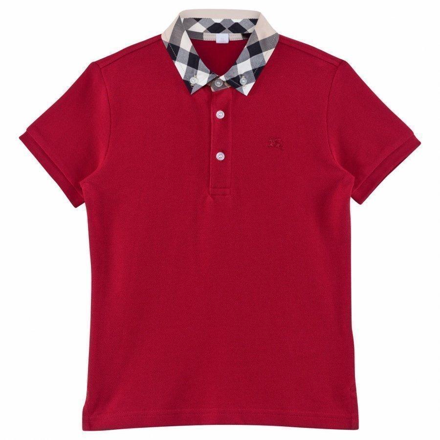 Burberry Check Collar Polo Shirt Military Red Pikeepaita