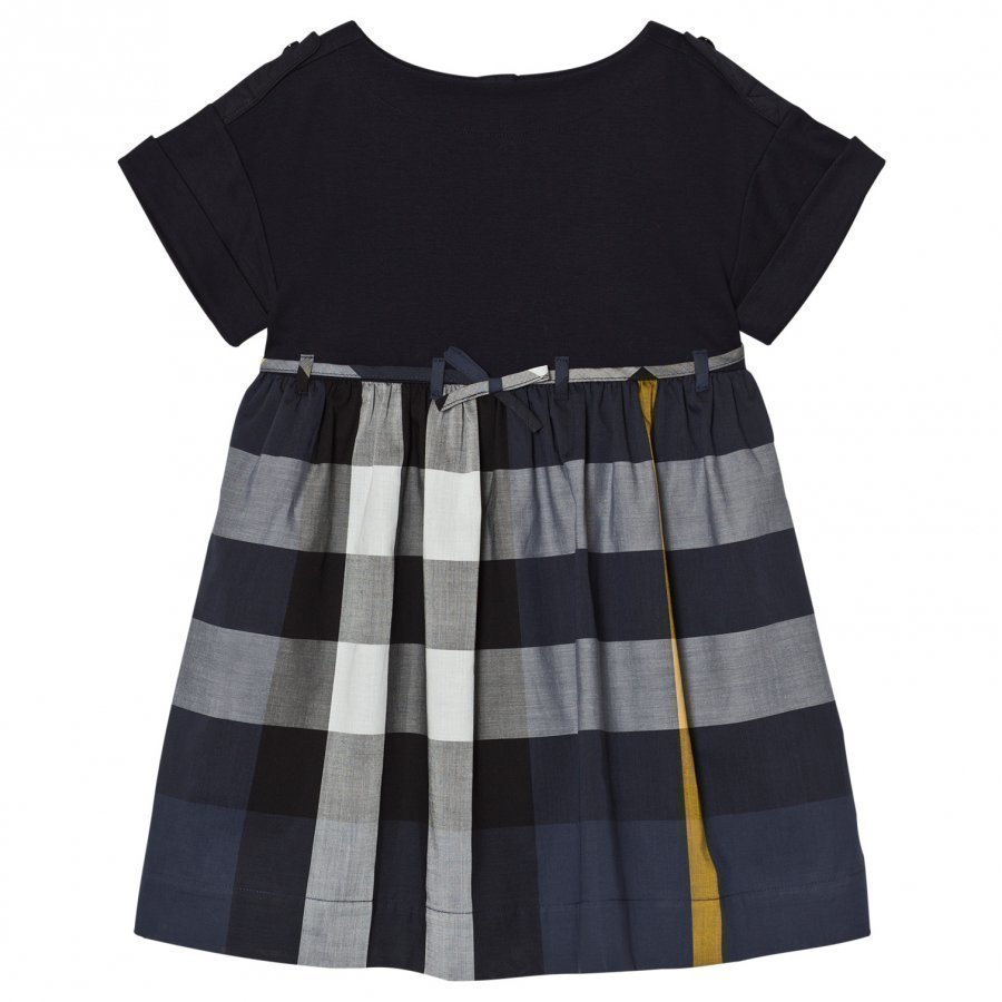 Burberry Check Cotton Dress Rhonda Navy Mekko