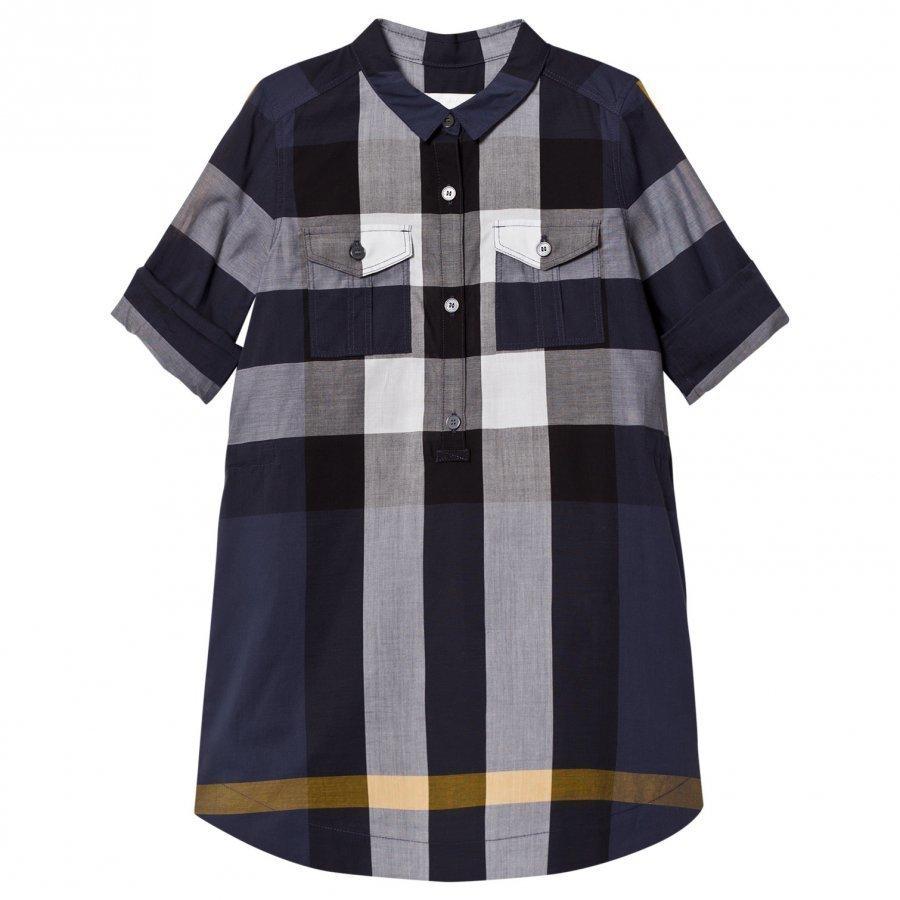 Burberry Check Cotton Shirt Dress Navy Mekko
