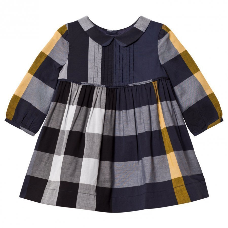 Burberry Check Pintuck Bib Dress Navy Mekko