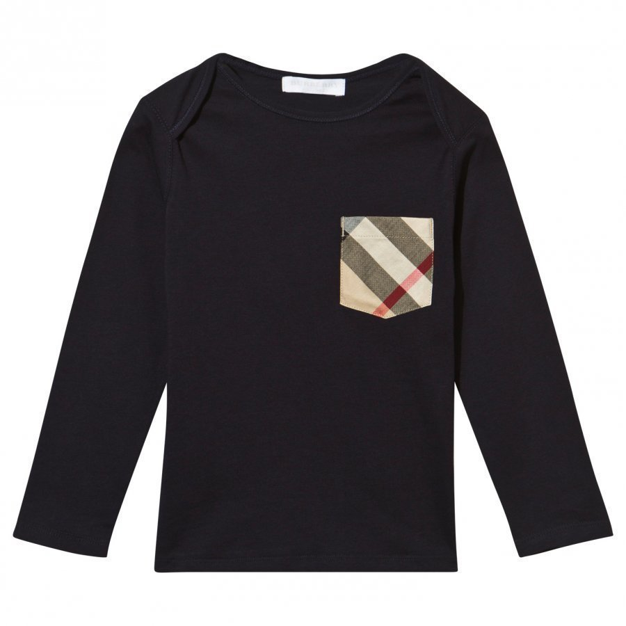 Burberry Check Pocket Long Sleeve T-Shirt True Navy Pitkähihainen T-Paita