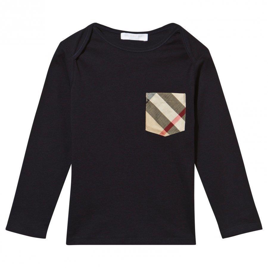 Burberry Check Pocket Long Sleeve T-Shirt True Navy Pitkähihainen T-Paita
