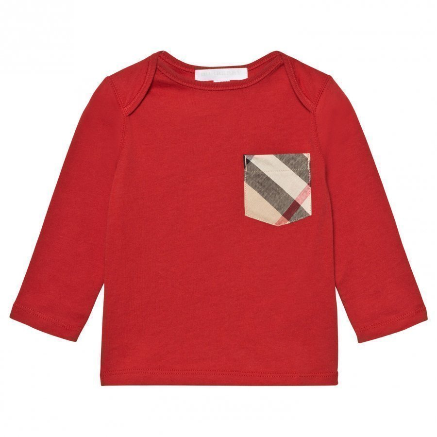 Burberry Check Pocket T-Shirt Military Red Pitkähihainen T-Paita