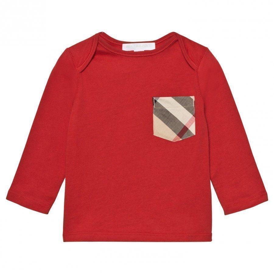 Burberry Check Pocket T-Shirt Military Red Pitkähihainen T-Paita