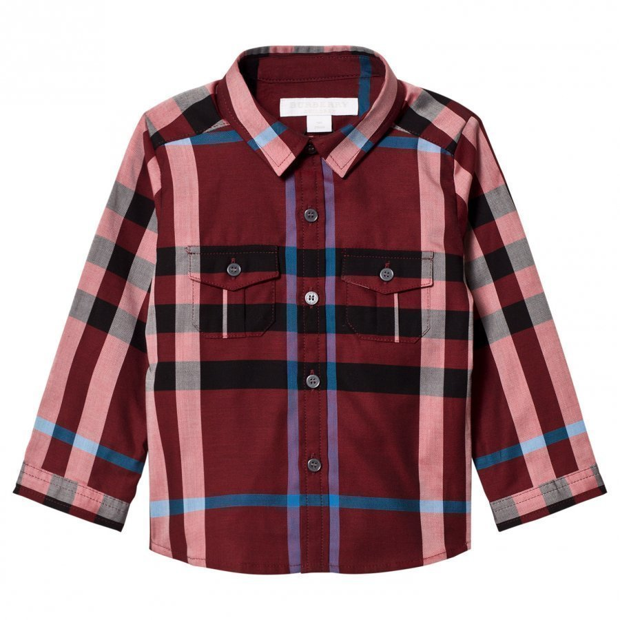 Burberry Check Trent Shirt Carmine Red Kauluspaita