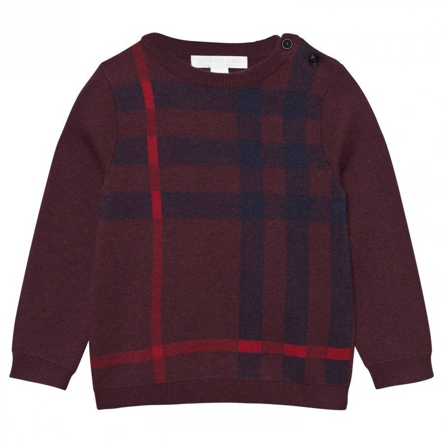 Burberry Check Wool Cashmere Blend Sweater Deep Claret Neulepaita