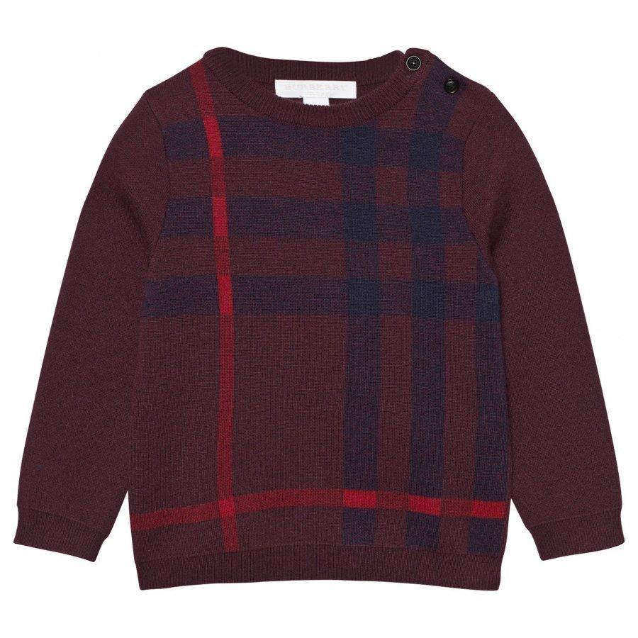 Burberry Check Wool Cashmere Blend Sweater Deep Claret Neulepaita
