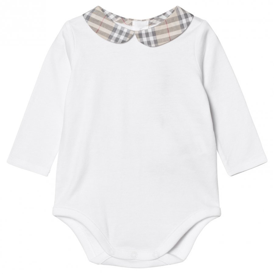 Burberry Cotton Body With Check Peter Pan Collar White Body