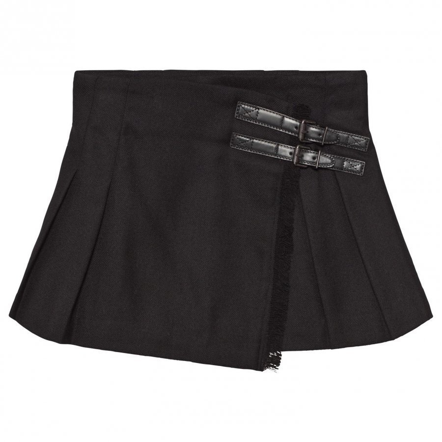 Burberry Fringed Wool Kilt Black Kellohame
