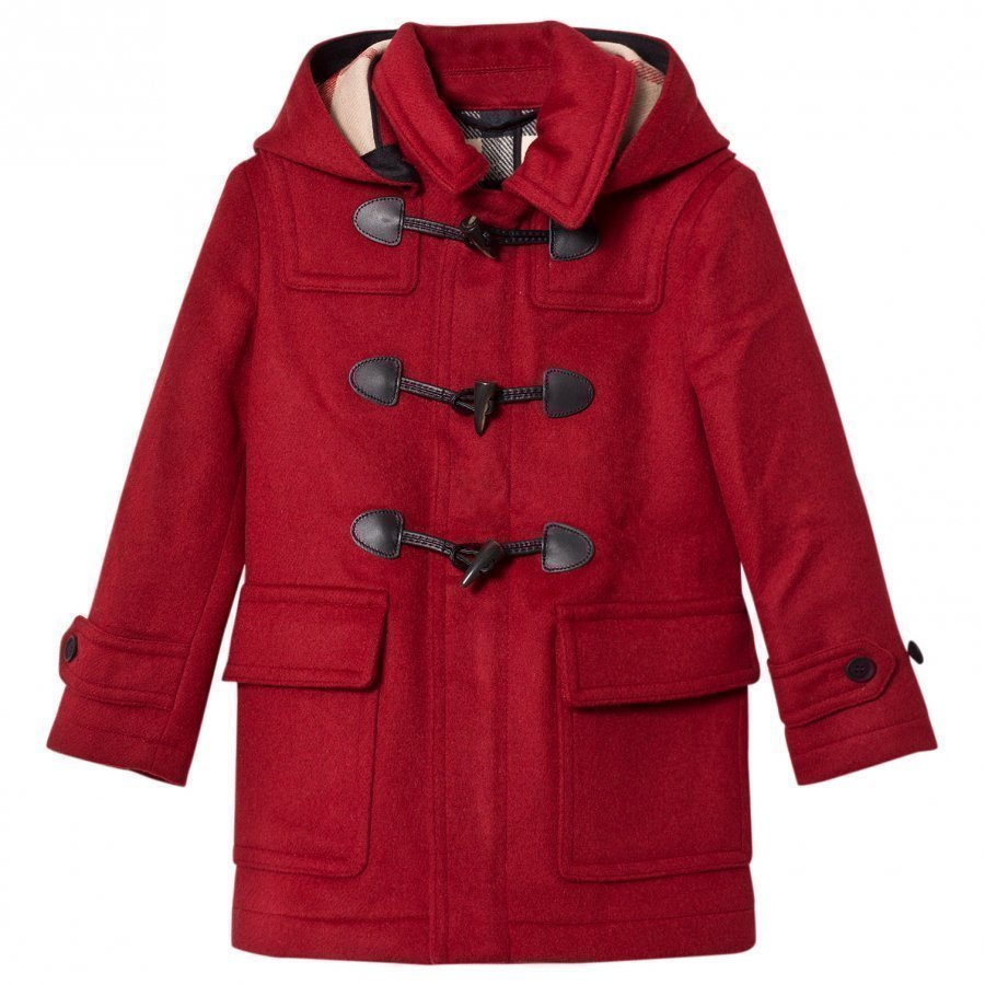 Burberry Hooded Wool Duffle Coat Parade Red Duffelitakki